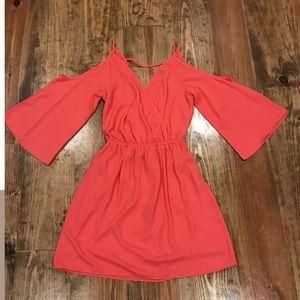 Hot pink boutique cold shoulder dress small